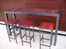high top table and stools furniture long narrow high top metal wood combo outdoor bar table