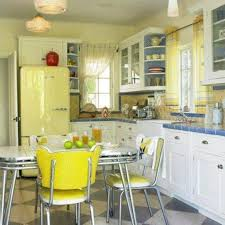 retro kitchen style with yellow accents and cabinets