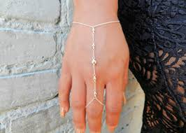 ring bracelet chain silver images Silver hand chain slave bracelet ring chain bracelet attach jpg