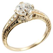 Vintage Style Wedding Rings by 1 05 Carat Diamond And 18k Yellow Gold Vintage Inspired Engagement