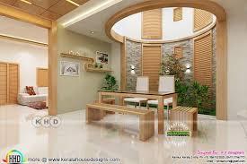 kerala home design staircase bifurcated stair and courtyard interior designs kerala home
