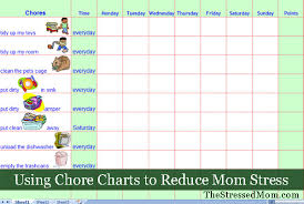 Chore Sheet Template Chore Charts To Reduce Stress The Stressed