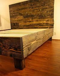 All Wood Bed Frame Rustic Solid Wood Platform Bed Frame Headboard Reclaimed Wood