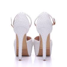 Wedding Shoes Luxury Comelkoala Brands 14cm White Pearl Wedding Shoes White Bridal