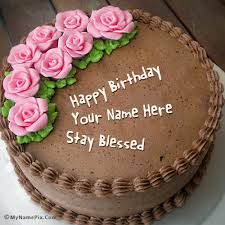 write name on chocolate birthday cake with roses picture happy