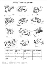 transport worksheet for spelling and colouring practice kinder