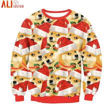 Christmas Doge Meme - many doge meme dogs 3d hoodie sweatshirt funny christmas clothing
