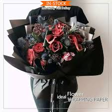 waterproof wrapping paper popular in korea black color waterproof bouquet packaging wrapping