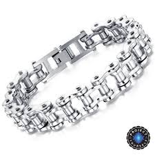 stainless silver bracelet images Cool stainless steel men 39 s biker chain bracelet project yourself jpg