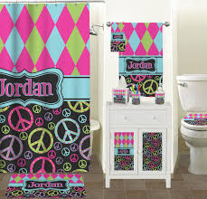 Pink Gingham Shower Curtain Harlequin U0026 Peace Signs Shower Curtain Personalized Potty