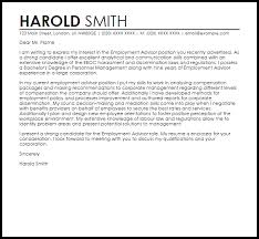 employment advisor cover letter sample livecareer