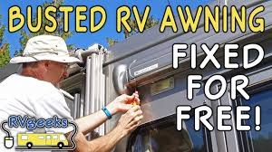 Awning Fabric For Rv Failed Rv Door Awning Repaired For Free Youtube