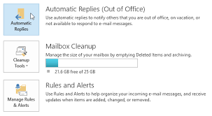 how to turn out of office replies on or off in outlook 2013