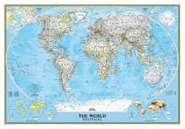 Blank Map Of World Political by National Geographic World Map Wall Mural