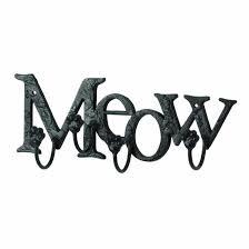meow cat kitten lovers metal wall hooks animal paw prints rack
