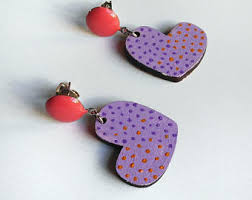 heart shaped earrings heart shaped earring etsy