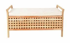 Schlafzimmer Banktruhe Sitzbank Aus Massivem Walnuss Holz Mit Polster Badmöbel Wäschekorb