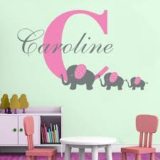 initial home decor customize name initial elephant wall sticker personalized baby
