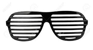 black plastic shutter shades sunglasses isolated on white stock