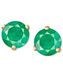 emerald green earrings 14k gold earrings emerald stud 3 4 ct t w earrings