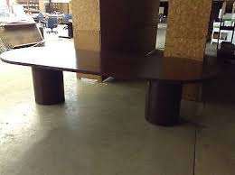 10 x 4 conference table used racetrack 10 x4 x30 conference table with 2 round bases by hon
