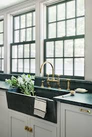 Antique Brass Kitchen Faucet Rafe Churchill Soapstone Sink Waterworks Unlacquered Brass