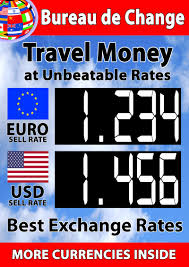 bureau de change 2 a1 sized manual exchange rate board for 2 currencies