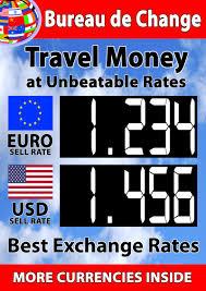 bureau de change 2 a1 sized manual exchange rate board for 2 currencies