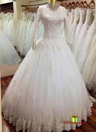 cheap modest high neck lace wedding dress under 500