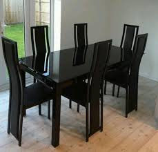 Black Glass Extending Dining Table 6 Chairs Harveys Noir Black Glass Extendable Dining Table And 6 Chairs In