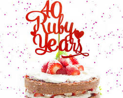 ruby wedding cakes anniversary cake etsy