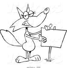 vector cartoon fox presenting blank sign coloring