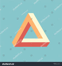 optical illusion triangle icon penrose geometric stock vector