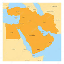 Middle East Country Map by Map Of Middle East Region U2014 Stock Vector Pyty 128166814