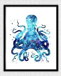 octopus print aqua teal purple octopus watercolor octopus
