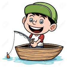 illustration of boy fishing in a boat royalty free cliparts