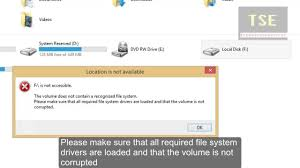 drive not accessible the volume does not contain a recognized file system windows 8 1