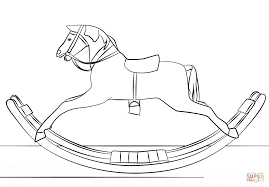 victorian toy rocking horse coloring page free printable