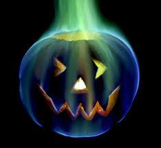 rainbow fire halloween jack o lantern