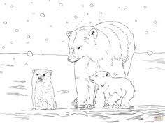 polar bear mother baby coloring supercoloring