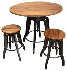 Bar Stool And Table Sets with Ashland Adjustable Height Pub Table And Chairs 3 Piece Set