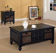 classic black coffee tables with storage and wicker baskets for