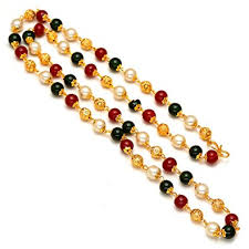 green pearls necklace images Buy jewar mandi chain 26 inch handmade red white green pearl polki jpg