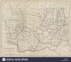 Washington State Map by Washington State Highways Poates 1925 Vintage Map Stock Photo