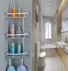 3 tier corner shower caddy basket bathroom chrome cosmetic shelf