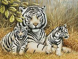 white tiger and cubs cross stitch pattern tiger
