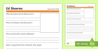 ed sheeran biography pdf dyslexia role model research ed sheeran worksheet activity