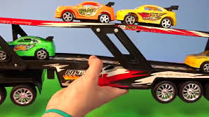 childrens monster truck videos trucks for kids truck car transporter toy with racing cars