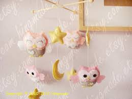baby crib mobile owl mobile hanging felt mobile by hingmade