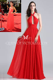 Red Unique Halter Plunging Long Chiffon Ariana Grande Carpet Prom